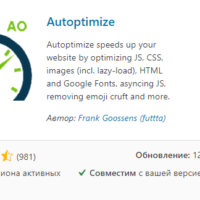 Плагин Autoptimize для оптимизации загрузки сайта